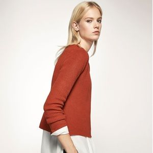 Cropped Crewneck Sweater with Button Detail